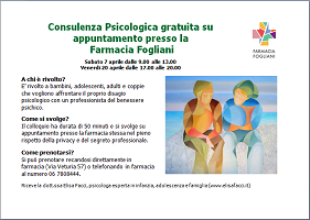 Consulenza psicologica presso la Farmacia Fogliani